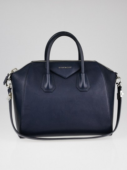 Givenchy Navy Blue Sugar Goatskin Leather Medium Antigona Bag