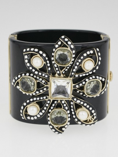 Chanel Black Resin and Crystal Lily Fantasy Flower Cuff Bracelet