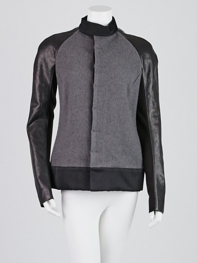 Rick Owens Grey Wool and Leather Jacket Size 8/42