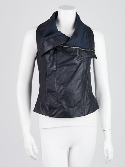 Rick Owens Blue Leather Biker Vest Size 6/40
