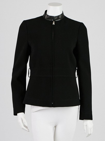 Gucci Black Polyester Blend and Leather Jacket Size 8/42