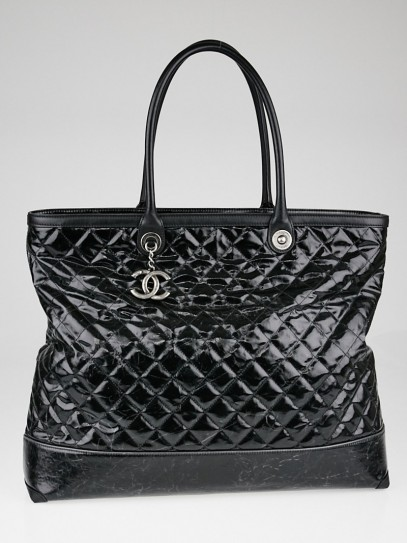 Chanel Black Striated Quilted Coated Canvas Large Rue Cambon Tote Bag