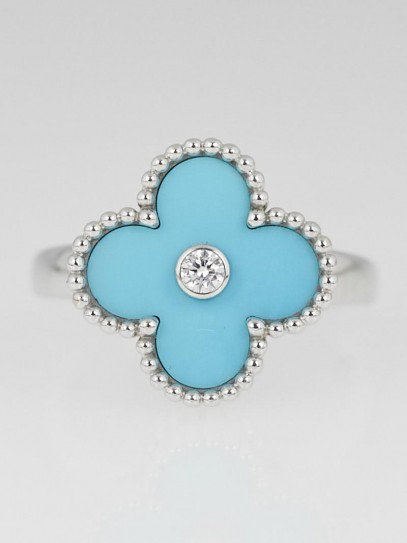 Van Cleef & Arpels 18k White Gold Turquoise and Diamond Vintage Alhambra Ring Size 6.5/53