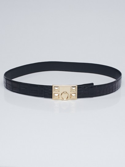 Hermes Black Shiny Crocodile Porosus Lisse Gold Plated Collier de Chien Reversible Buckle Belt Size 90