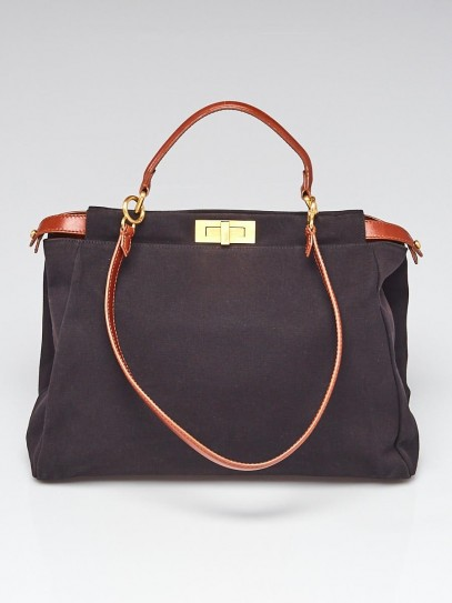 Fendi Black Canvas and Brown Leather Large Peekaboo Satchel Bag 8BN210