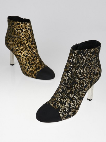 Chanel Black/Gold Embroidered Tweed Cap-Toe Short Boots Size 8.5/39