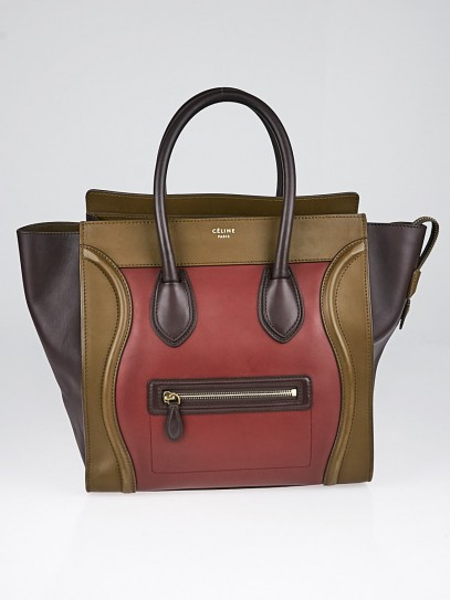 Celine Red Smooth Calfskin Leather Tricolor Mini Luggage Tote Bag