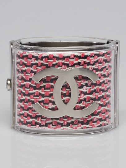 Chanel Pink Tweed Acrylic and Metal CC Wide Cuff Bracelet