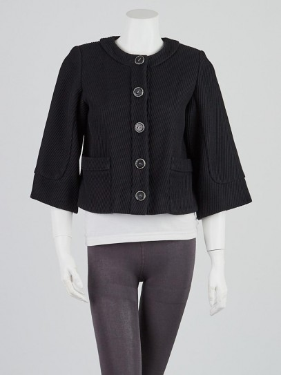 Chanel Black Whipcord Cotton Cropped Jacket Size 2/34