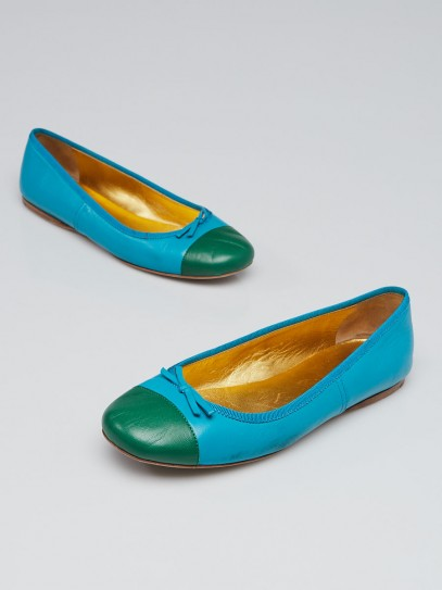 Prada Turquoise and Green Leather Bow Ballet Flats Size 6/36.5