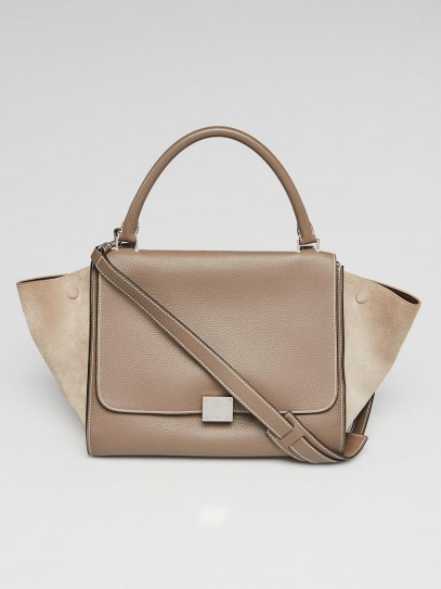 Celine Souris Pebbled Calfskin Leather and Suede Medium Trapeze Bag