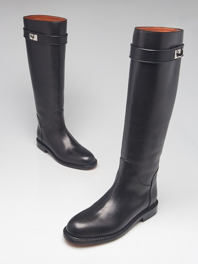 Givenchy Black Leather Shark Lock Tall Riding Boots Size 7.5/38
