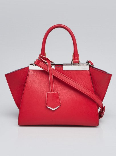 Fendi Red Leather Petite 3Jours Tote Bag 8BH333