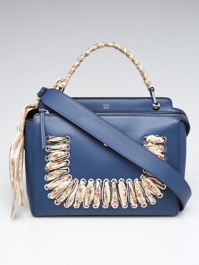 Fendi Ori Blue Calfskin Fabric Stitched Dot Com Satchel Bag 8BN293