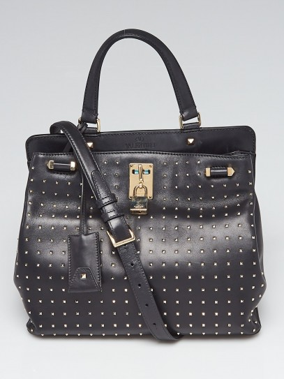 Valentino Black Leather Rockstud Joy Lock Medium Bag