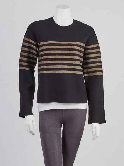 Burberry Black/Gold Striped Cotton/Cashmere Cropped Sweater Size S/P