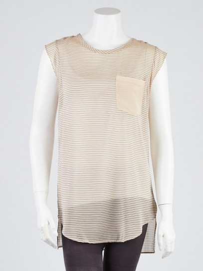 3.1 Phillip Lim Beige Striped Silk Blend Sleeveless Top Size 4