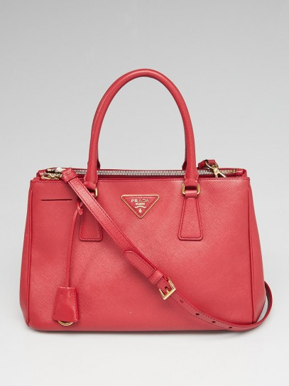 Prada Red Saffiano Lux Leather Small Double Zip Tote Bag BN1801