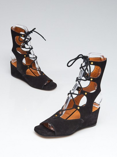 Chloe Black Suede Foster Gladiator Lace-up Wedge Sandals Size 7.5/38