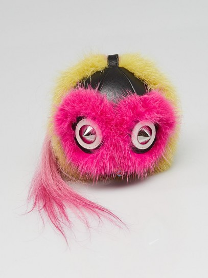 "Fendi Pink/Yellow/Black Fox Fur/Leather ""Coolibri"" Key Chain and Bag Charm"