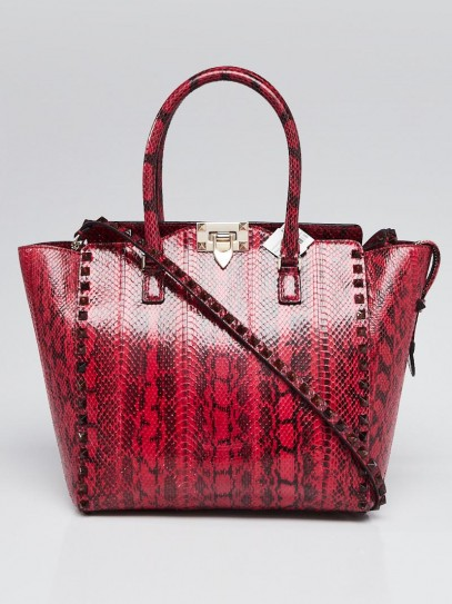 Valentino Red/Black Snakeskin Rockstud Double Handle Tote Bag