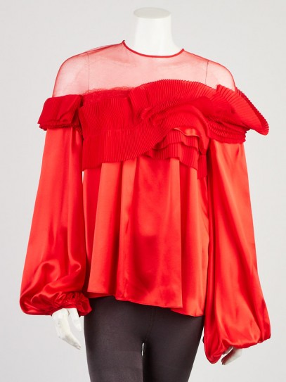 Givenchy Red Silk Ruffle Top Size 2/36
