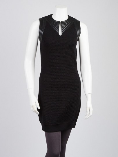 Louis Vuitton Black Wool Blend Knit Sleeveless Dress Size M