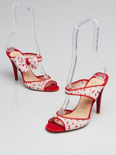 Christian Louboutin Red/White Polka Dot Crepe Satin/Chiffon Miss Chief 100 Slide Sandals Size 7/37.5