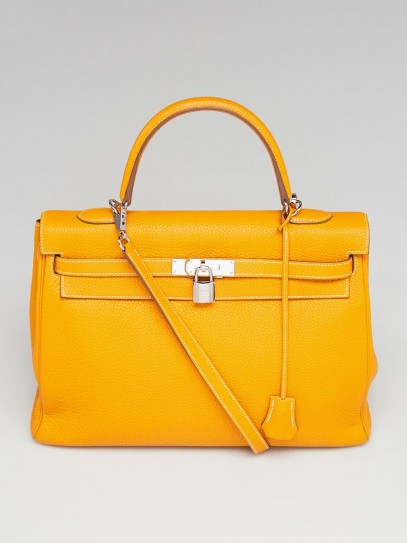 Hermes 35cm Bi-Color Jaune d'Or/Bleu Sapphire Clemence Leather Palladium Plated Kelly Retourne Bag