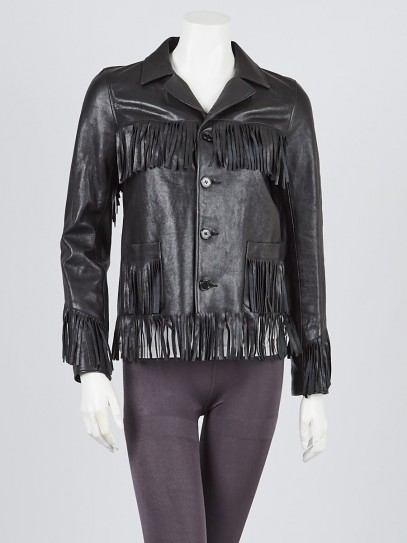 Yves Saint Laurent Black Lambskin Leather Fringe Jacket Size 2/36