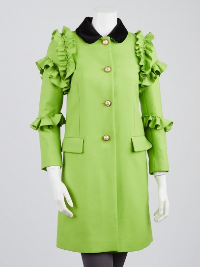 Gucci Green Wool Ruffle and Velvet Collar Coat Size 4/38