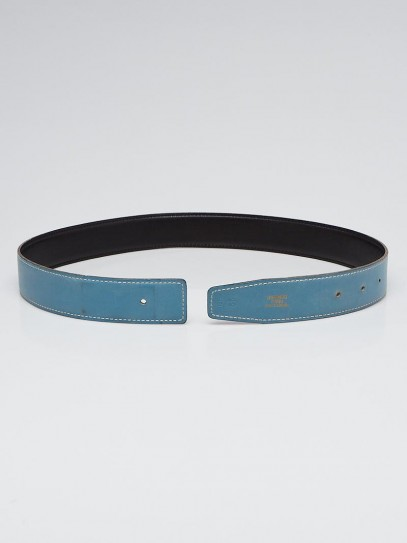 Hermes 32mm Black/Blue Jean Box Leather Belt Strap Size 65
