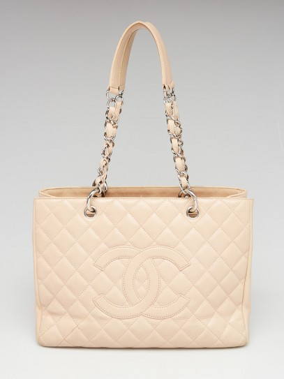 Chanel Beige Quilted Caviar Leather Grand Shopping Tote Bag