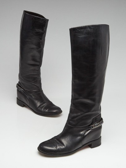 Christian Louboutin Black Leather Cate Flat Boots Size 7/37.5