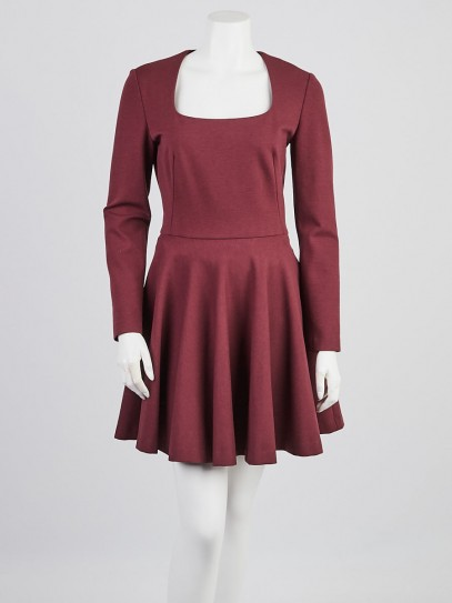 Alexander McQueen Burgundy Wool Blend Scoop Neck Dress Size 8/42