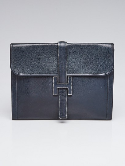 Hermes Indigo Courchevel Leather Jige GM Briefcase Bag