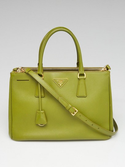 Prada Olive Green Saffiano Lux Leather Double Zip Medium Tote Bag BN2274