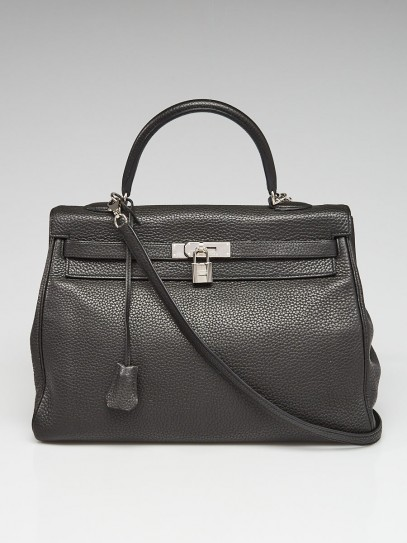 Hermes 35cm Plomb Clemence Leather Palladium Plated Kelly Retourne Bag