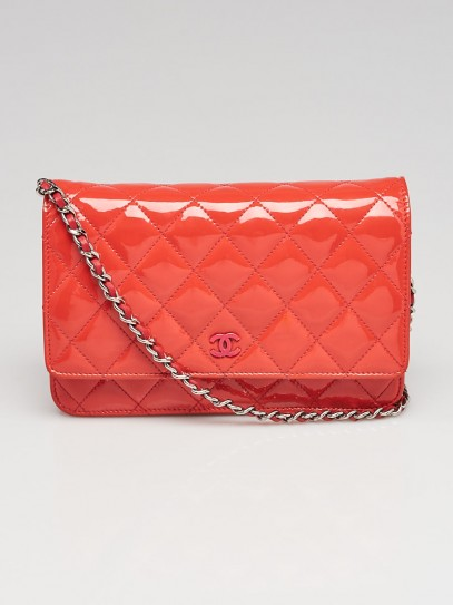 Chanel Coral Quilted Patent Leather CC WOC Clutch Bag