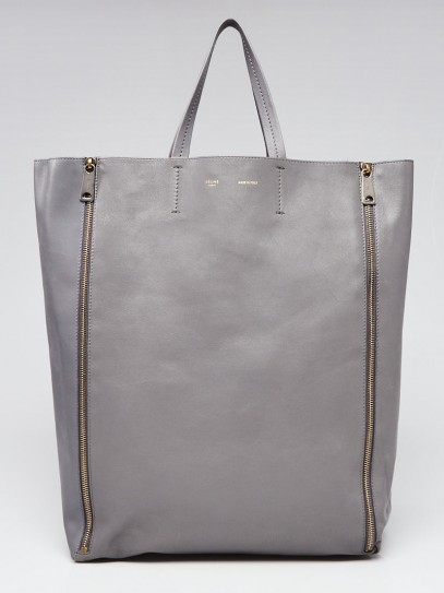 Celine Grey Leather Vertical Gusset Zip Cabas Tote Bag