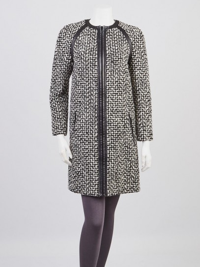Yves Saint Laurent Black/White Tweed with Leather Trim Jacket Size 4/36