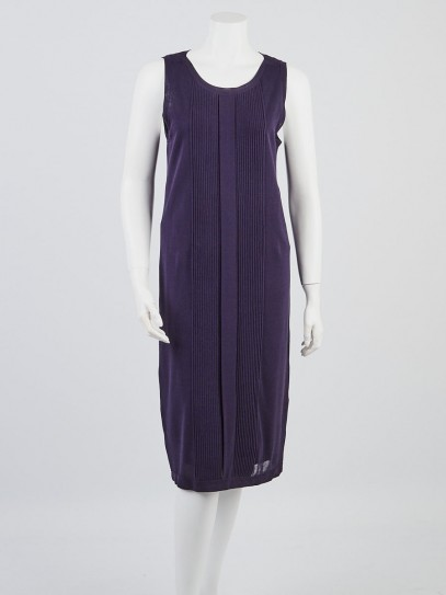 Hermes Navy Blue Cotton/Silk Knit Sleeveless Midi Dress Size 2/36
