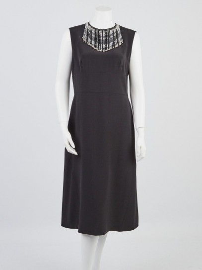 Prada Black Silk Sleeveless Beaded Neck Dress Size 10/44