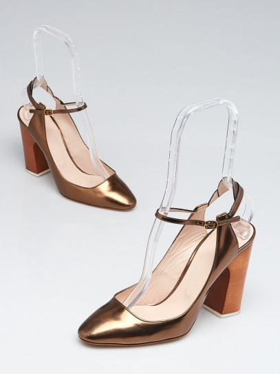 Chloe Bronze Leather Mary Jane Slingback Pumps Size 8.5/39