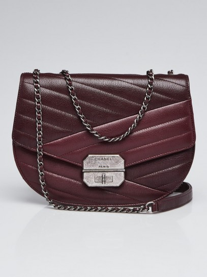 Chanel Dark Burgundy/Burgundy Quilted Chevre Leather Gabrielle Medium Flap Bag