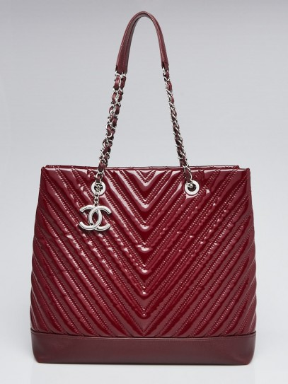 Chanel Burgundy Chevron Quilted Patent Leather Large Shopping Tote Bag