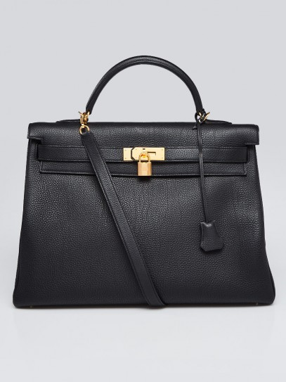 Hermes 40cm Black Togo Leather Gold Plated Kelly Retourne Bag