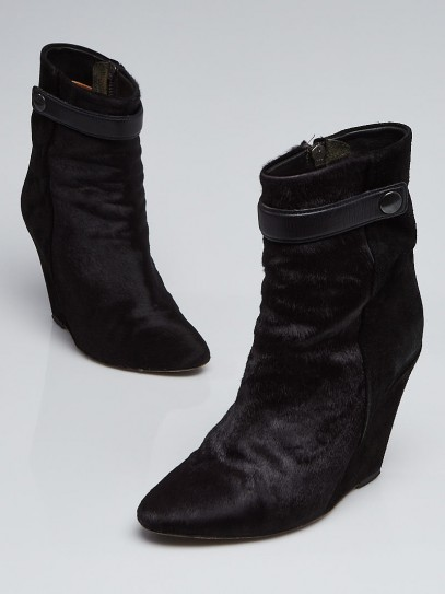 Isabel Marant Black Pony Hair and Suede Wedge Boots Size 5.5/36