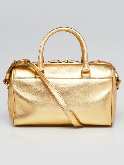 Saint Laurent Metallic Gold Calfskin Leather Classic Baby Duffle Bag