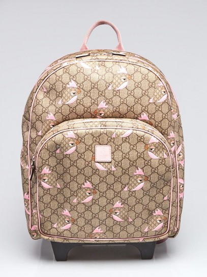 Gucci Beige/Pink GG Coated Canvas Zoo Backpack Trolley Bag
